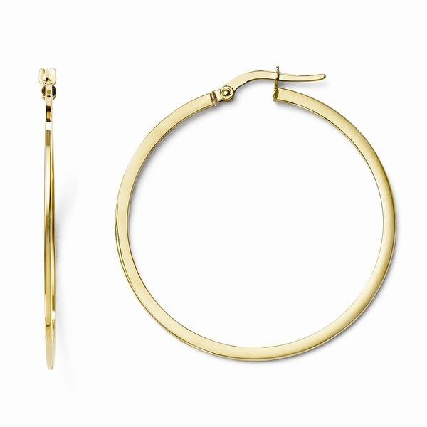 Italian 10k Gold Polished Hinged Hoop Earrings