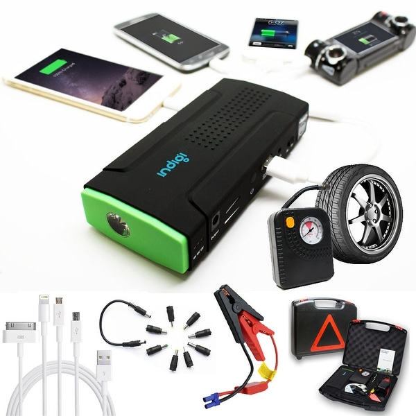 Indigi® 12800mAh HeavyDuty Rugged Portable Automotive Jump Starter PowerBank w/ Hard Carrying Case & Tire Inflator Included