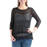 Womens Black 3/4 Sleeve Crew Neck Casual Top  Size  S
