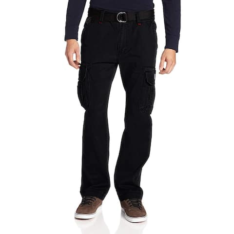 Unionbay Men Pants Black Size 50X30 Big & Tall Belted Cargo Relaxed Fit