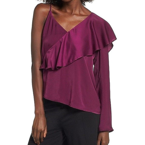 Leith Womens Large Satin Ruffle One-Shoulder Blouse
