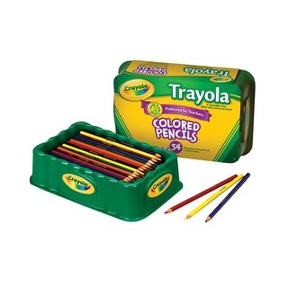 Crayola Full Size Non-Toxic Colored Pencil Set in Trayola, 3.3 mm Thick Tip, Assorted Color, Set of 54