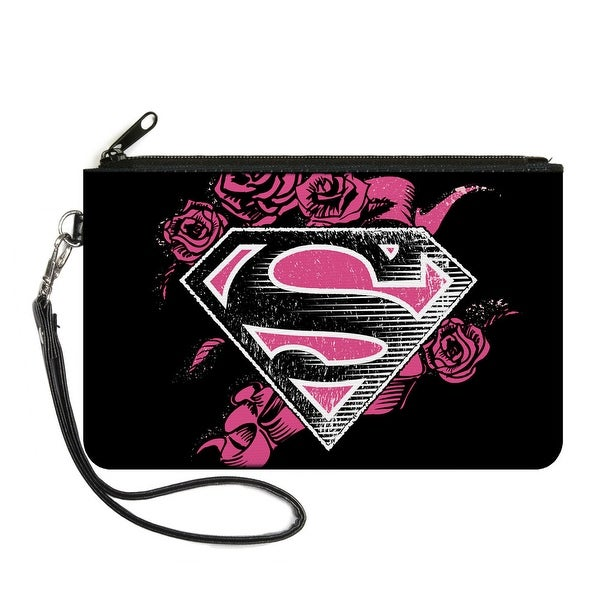 Superman Shield4 Roses Weathered Black White Pinks Canvas Zipper Wallet
