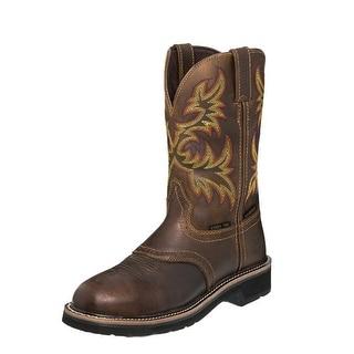 Justin Work Boots Mens Western Waterproof Steel Toe Rugged Tan WK4695