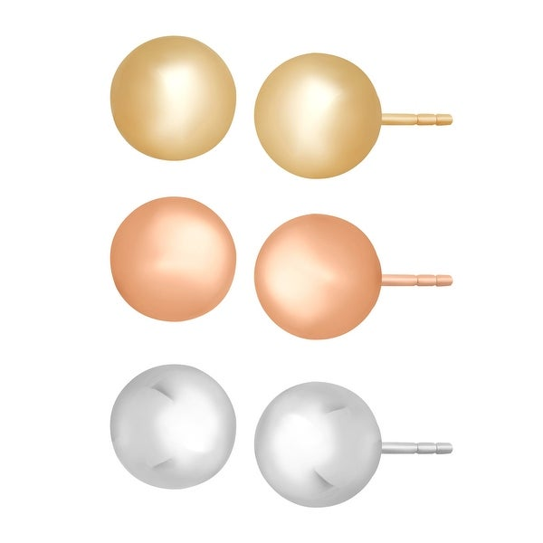 Just Gold Set of Three Ball Stud Earrings in 14K Three-Tone Gold