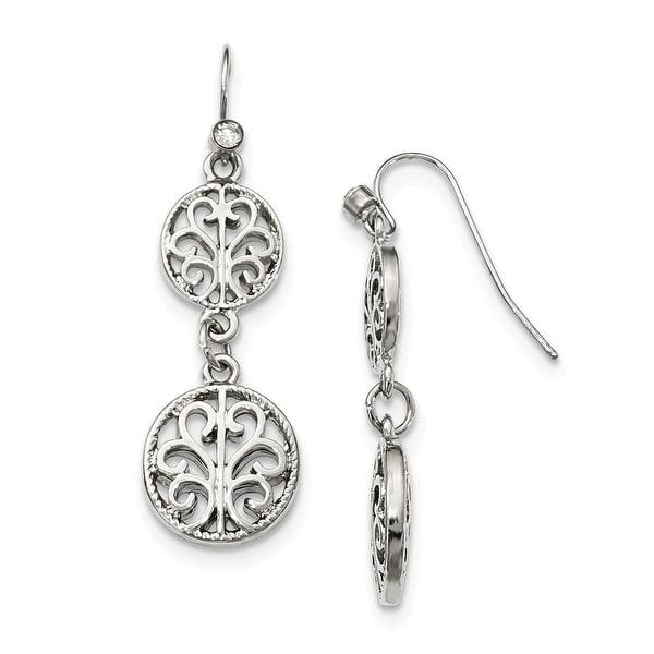 Silvertone Crystal Leverback Earrings