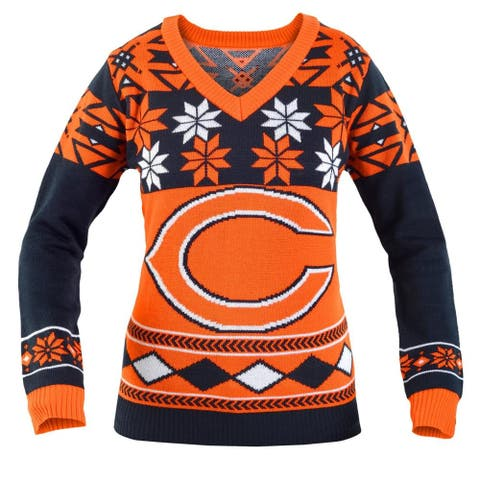 Chicago Bears NFL Women's Big Logo V-Neck Ugly Christmas Sweater - Orange