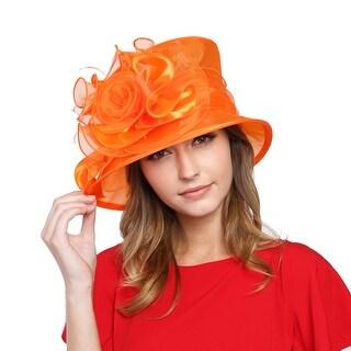 ChicHeadwear Brim Ruffle Flower Organza Hat - Orange - One size