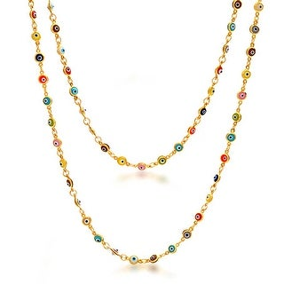Multi Color Glass Evil Eye Gold Plated Necklace 35 Inches