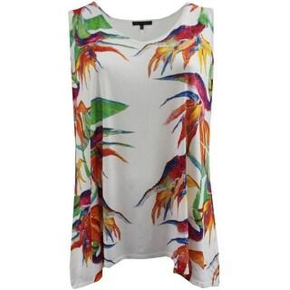 Women - Plus Size Sleeveless Floral Print Design Summer Tank Top Multi
