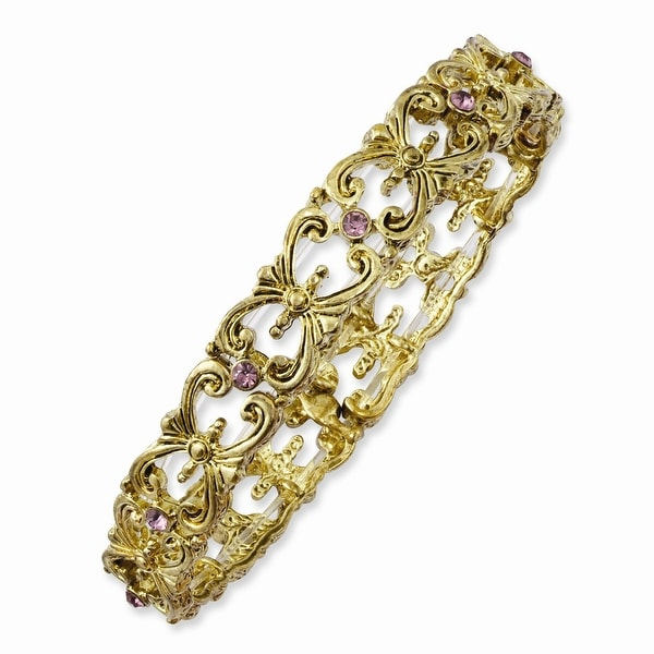 Brass Light Purple Crystal Stretch Bracelet
