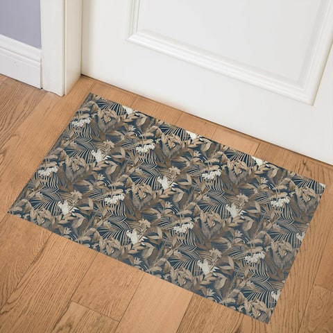 TROPICAL JUNGLE MIDNIGHT BLUE Indoor Floor Mat By Kavka Designs