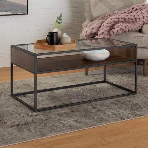 Carbon Loft Geller Open Shelf, Glass Top Coffee Table