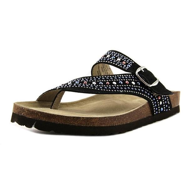 White Mountain Harbour Women Open Toe Synthetic Black Slides Sandal