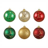 "6ct Glittered Swirl Shatterproof Christmas Ball Ornaments 3.25"" (80mm) - multi"