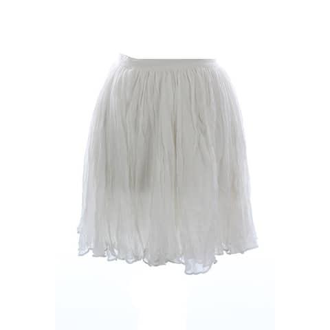 Polo Ralph Lauren Ivory Crumpled Flared Skirt 14
