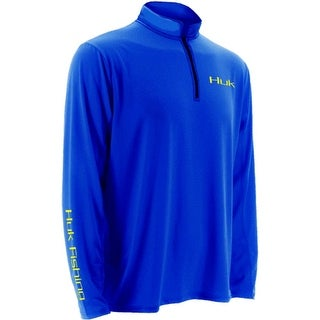 Huk Men's Icon 1/4 Zip Royal Blue Large Long Sleeve Shirt