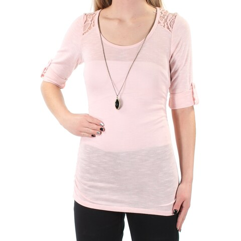 BCX Womens Pink Lace W/necklace Cuffed Scoop Neck Top Size: XS
