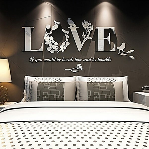 Home Diy Art Decor Mirror Love Wall Stickers Quote Flower Acrylic Decal