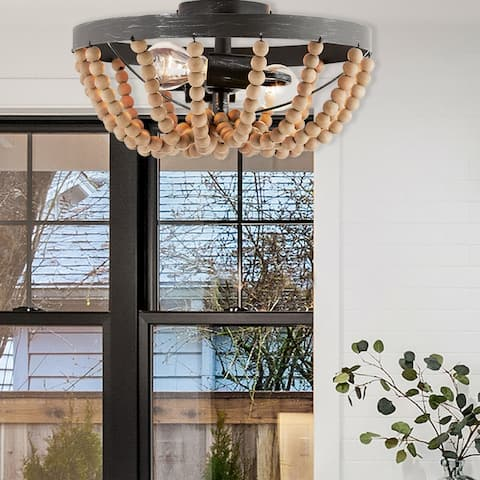 """Karma River of Goods Brown Metal and Wood 15-inch Semi-Flush Mount Ceiling Light - 15"""" x 15"""" x 7.5"""""""