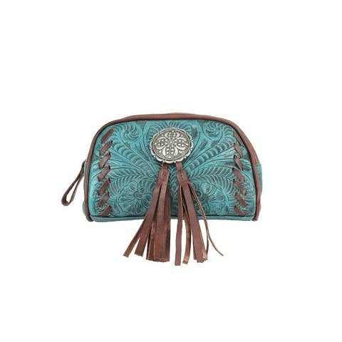 American West Western Cosmetic Case Womens Lariats Dark Turq - Dark Turquoise - 8 x 5 x 2.5