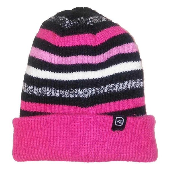 Free Country Girls Reversible Striped Slouchy Cuffed Beanie Pink OS