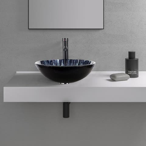 Bathroom Vessel Sink Bowl and Faucet Combo - 16*16*6.5