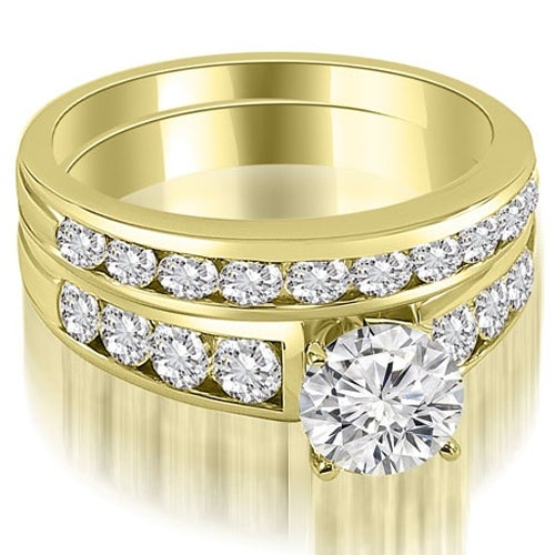 2.15 cttw. 14K Yellow Gold Classic Channel Set Round Cut Diamond Bridal Set