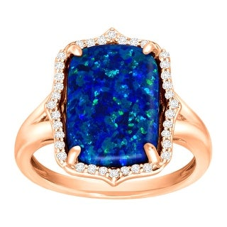 2 3/4 ct Created Blue Opal & Natural White Topaz Ring in Rose Gold-Plated Sterling Silver