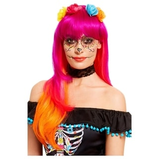 Pink and Orange Day of the Dead Women Halloween Women Wig , N/A