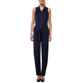 Lauren Ralph Lauren Womens Jumpsuit Collared Tie Waist