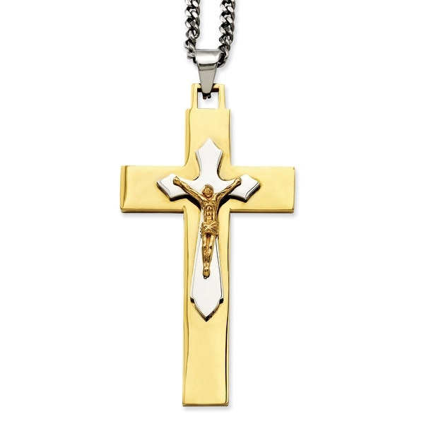 Stainless Steel IP Gold-plated Crucifix Pendant 24in Necklace (3 mm) - 24 in