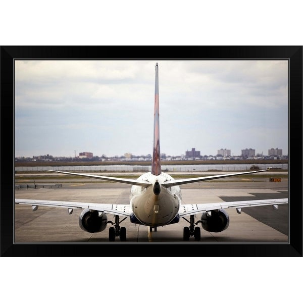 """""""Rearview of an airplane on a runway"""" Black Framed Print"""