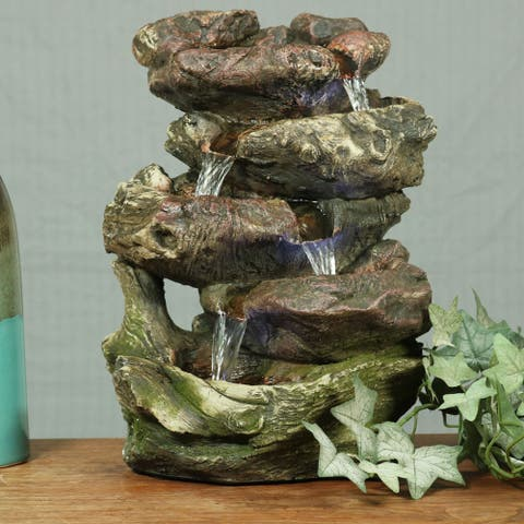 Sunnydaze 5 Step Rock Falls Tabletop Indoor Fountain with LED Lights - 14-Inch
