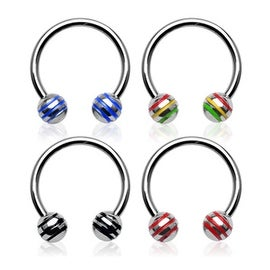 "Surgical Steel Horseshoe with Striped Balls - 16GA 3/8"" Long (4x4mm Ball) (Sold Ind.)"