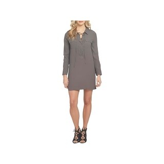 1.State Womens Shirtdress Lace-Up Long Sleeve
