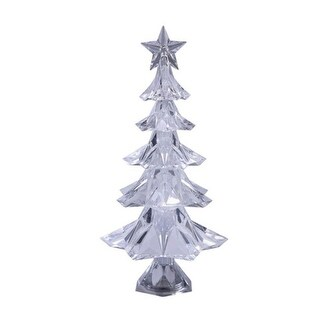 Pack of 4 Icy Crystal Illuminated Christmas Star Shaped Tree Figurines 11""