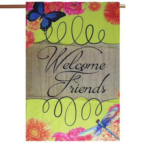 "Brown and Green ""Welcome Friends"" Outdoor Garden Flag 29"" x 43"" - N/A"