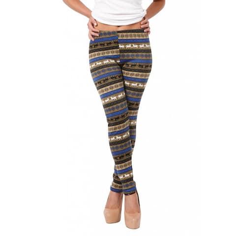 True Rock Women's Fleece Lined Printed Leggings - Blue/Tan - S