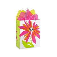 """Pack Of 250, Cub 8 x 4.75 x 10.5"""" Brushed Floral Recycled Shopping Bags W/White Paper Twist Handles"""