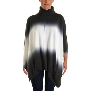 Two by Vince Camuto Womens Cotton Dip-Dye Poncho Sweater