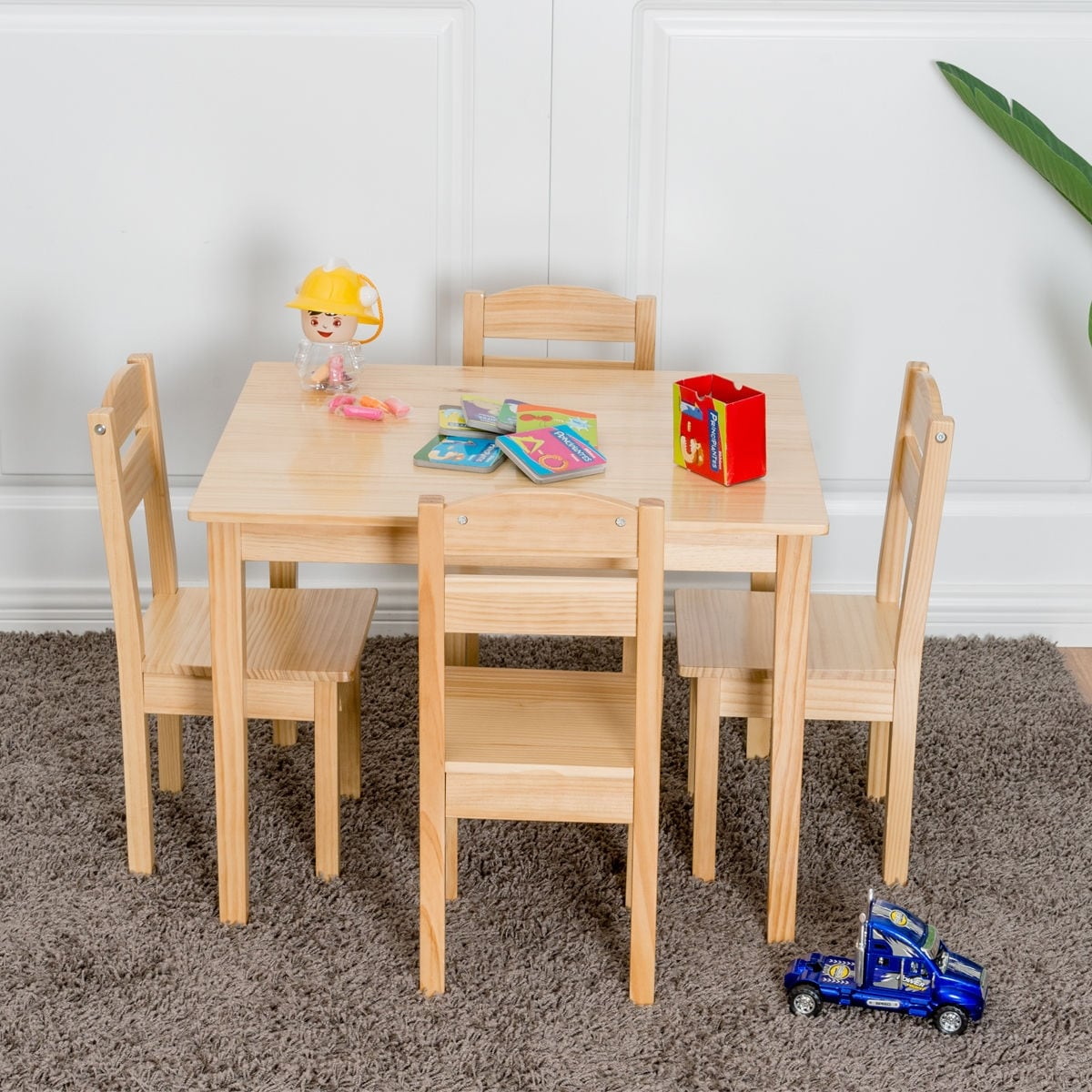 Gymax Children Play Table Chair 5pcs Set Pine Wood Kids