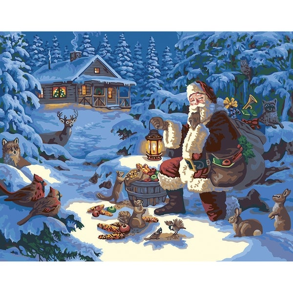 "Paint By Number Canvas W/Lights Kit 11""X14""-Woodland Santa"