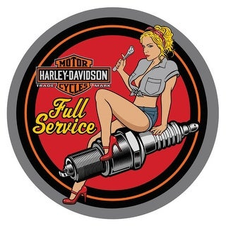 "Harley-Davidson Spark Plug Babe Embossed Tin Sign, 14 inch diameter 2011371 - 14"""