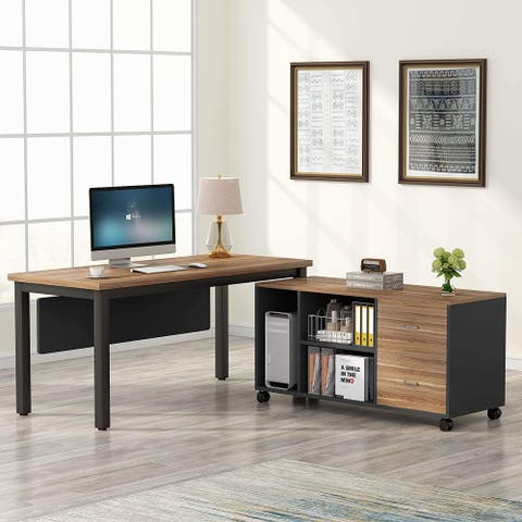 55 Inches L-Shaped Computer Desk with Large Storage Cabinet and Drawers - Walnut