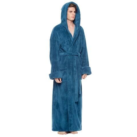 Men's Hooded Fleece Bathrobe Turkish Soft Plush Robe with Full Length Options