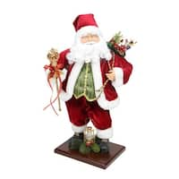 "18"" Santa Claus with Gift Bag and Staff Christmas Tabletop Decoration"