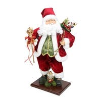 "18"" Santa Claus with Gift Bag and Staff Christmas Tabletop Decoration - RED"