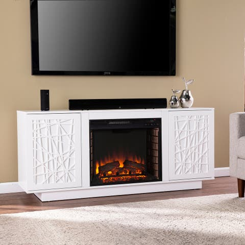 Strick & Bolton Delauro Electric Media Fireplace w/ Storage