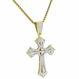 Iced Out Designer Cross Pendant 14k Gold Over Sterling Silver CZ Necklace